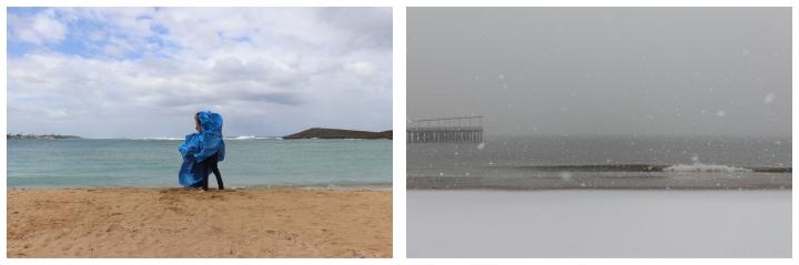 Carryover (Blue tarp in Vega Baja_Coney Island), 2021, Digital photograph_C-print in two parts, 20 x 30 in, Courtesy of the artist